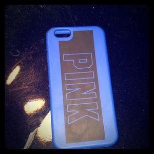 Pink blue and black phone case
